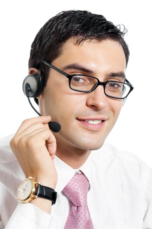 Portrait of happy smiling cheerful support phone operator in headset, isolated on white background Stock Photo - 9895974