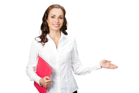 Happy smiling young business woman showing blank area for sign or copyspase, isolated on white background photo