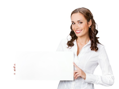 presenting: Happy smiling young business woman showing blank signboard, isolated on white background Stock Photo