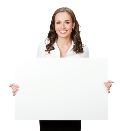 holding a sign: Happy smiling young business woman showing blank signboard, isolated on white background Stock Photo