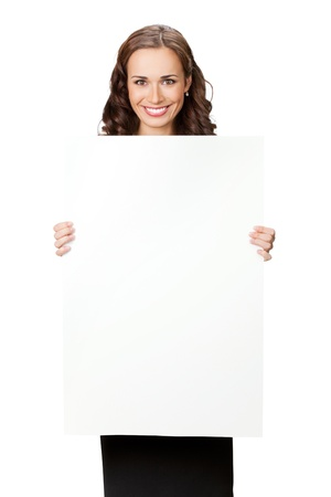 Happy smiling young business woman showing blank signboard, isolated on white background Stock Photo - 9896245