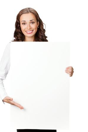 Happy smiling young business woman showing blank signboard, isolated on white background Stock Photo - 9896247