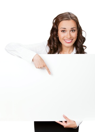 Happy smiling young business woman showing blank signboard, isolated on white background Stock Photo - 9896252
