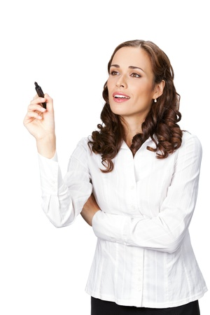 fix: Happy smiling cheerful young business woman writing or drawing on screen with black marker, isolated on white background