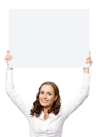advertise: Happy smiling young business woman showing blank signboard, isolated on white background Stock Photo