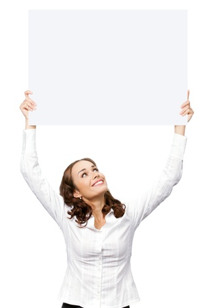 Happy smiling young business woman showing blank signboard, isolated on white background Stock Photo - 9896241