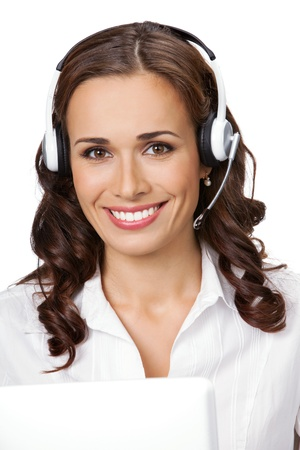 Portrait of happy smiling cheerful young support phone operator in headset with laptop, isolated on white background Stock Photo - 9896296