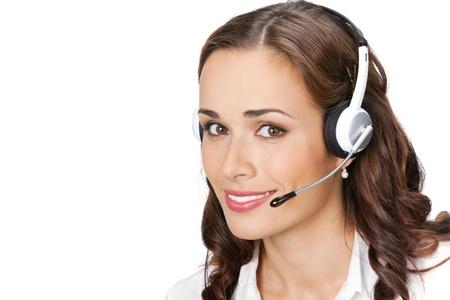 Portrait de sourire heureux de soutenir les jeunes gais opérateur téléphonique dans le casque, isolé sur fond blanc Banque d'images