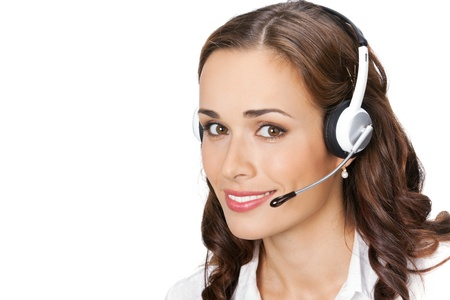 online support: Portrait of happy smiling cheerful young support phone operator in headset, isolated on white background Stock Photo