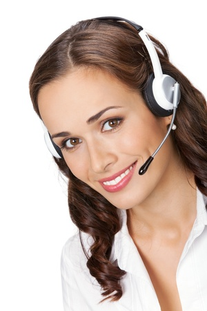 Portrait of happy smiling cheerful young support phone operator in headset, isolated on white background Stock Photo - 9896318