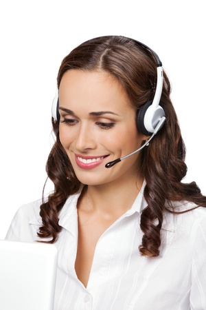 Portrait of happy smiling cheerful young support phone operator in headset with laptop, isolated on white background Stock Photo - 9896317