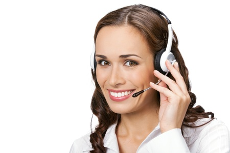 Portrait of happy smiling cheerful young support phone operator in headset, isolated on white background Stock Photo - 9896294