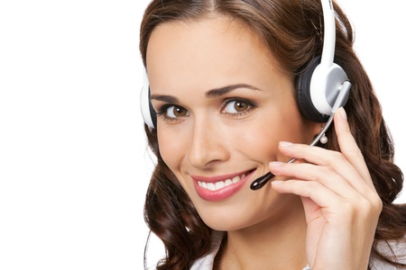 phone operator: Portrait of happy smiling cheerful young support phone operator in headset, isolated on white background Stock Photo