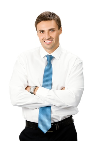 Portrait of happy smiling business man, isolated on white background Stock Photo - 9896424