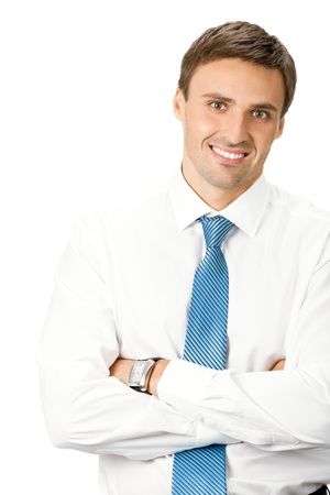 Portrait of happy smiling business man, isolated on white background Stock Photo - 9896431
