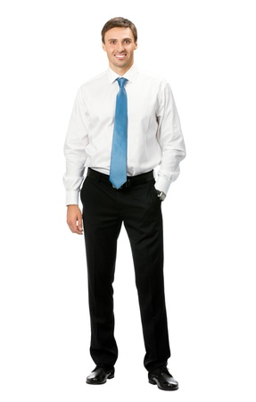 Full body portrait of happy smiling business man, isolated on white background photo