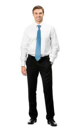 cuerpo completo: Retrato de cuerpo entero del hombre de negocios feliz sonriendo, aisladas sobre fondo blanco