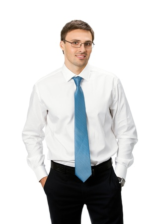 Portrait of happy smiling business man, isolated on white background Stock Photo - 9896365