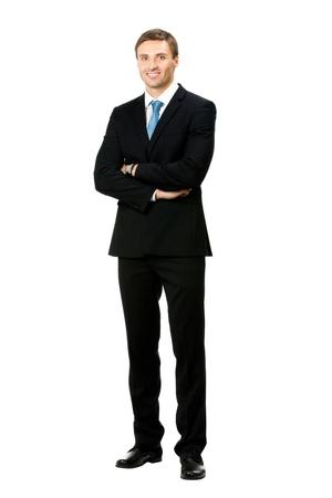 young man portrait: Full body portrait of happy smiling business man, isolated on white background