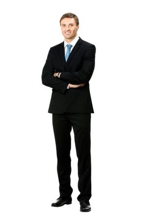 cuerpo hombre: Retrato de cuerpo completo del hombre feliz de negocios sonriente, aislada sobre fondo blanco