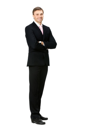 1 man only: Full body portrait of happy smiling business man, isolated on white background