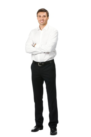 man only: Full body portrait of happy smiling business man, isolated on white background