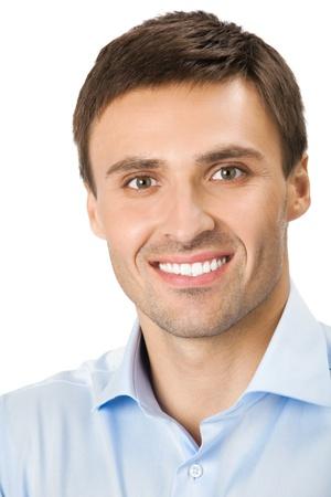 Portret van gelukkig lachend zakenman, geïsoleerd op witte achtergrond