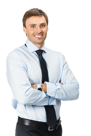 Portrait of happy smiling business man, isolated on white background photo