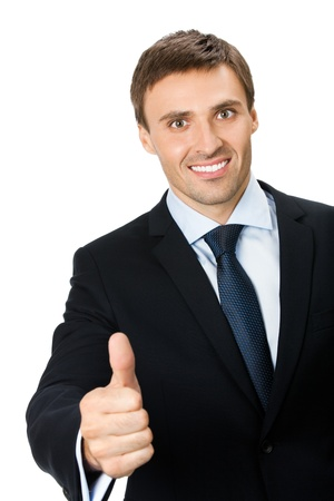 Happy smiling young business man with thumbs up gesture, isolated on white background photo