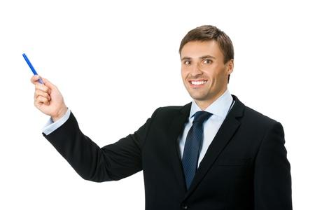 superficie: Feliz hombre de negocios joven sonriente mostrando el �rea en blanco de signo o copyspase, aislado en fondo blanco Foto de archivo