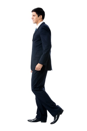 important people: Full body portrait of walking business man, isolated on white background