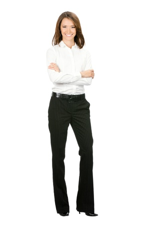 whitebackground: Full body portrait of happy smiling young cheerful business woman, isolated on white background