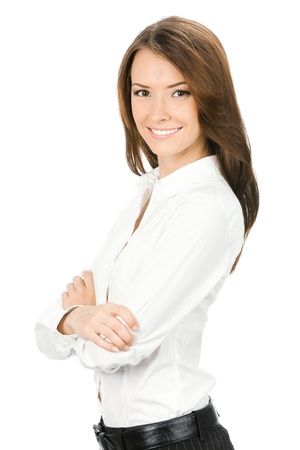 executive assistants: Portrait of happy smiling young cheerful business woman, isolated on white background Stock Photo