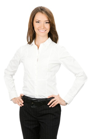 only one woman: Portrait of happy smiling young cheerful business woman, isolated on white background Stock Photo