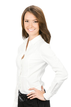 Portrait of happy smiling young cheerful business woman, isolated on white background Stock Photo - 10024940