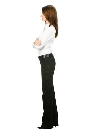 Full body of young business woman, isolated on white background