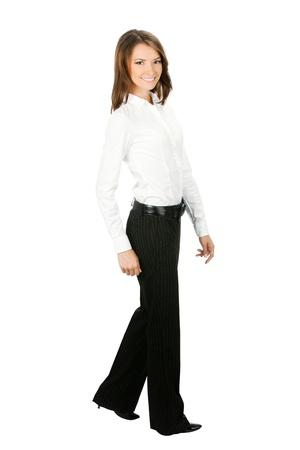 employe: Full body portrait of walking business woman, isolated on white background Stock Photo