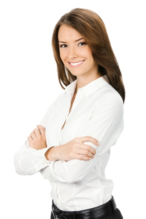 young businesswoman: Portrait of happy smiling young cheerful business woman, isolated on white background Stock Photo