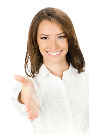 Portrait of young cheerful beautiful business woman giving hand for handshake, isolated on white background Stock Photo - 10024954