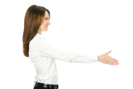 one person only: Portrait of young cheerful beautiful business woman giving hand for handshake, isolated on white background