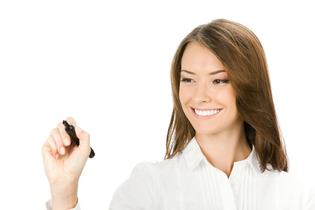 message board: Happy smiling cheerful young business woman writing or drawing on screen with black marker, isolated on white background