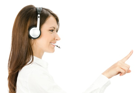 Portrait of happy smiling cheerful customer support phone operator in headset pointing at something, isolated on white background Stock Photo - 10024943