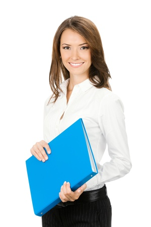 Portrait of young happy smiling cheerful businesswoman with blue folder, isolated on white background photo