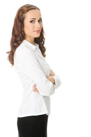 Portrait of happy smiling young business woman, isolated on white background Stock Photo - 10025012