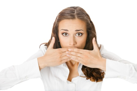 Portrait of surprised excited young business woman covering with hands her mouth, isolated on white background Stock Photo - 10024986