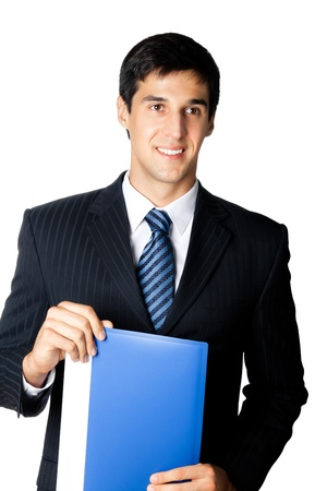 Portrait of happy smiling young businessman with blue folder, isolated on white background photo