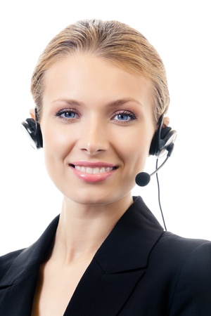 phone operator: Portrait of happy smiling cheerful support phone operator in headset, isolated on white background