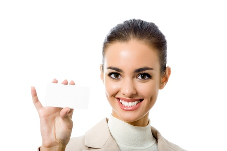 Happy smiling business woman with blank business card, isolated on white backround Stock Photo - 10206845