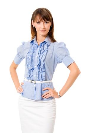 sadece kadınlar: Portrait of happy smiling business woman, isolated on white background