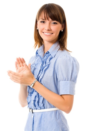 congratulating: Portrait of young happy clapping business woman, isolated on white background